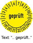 Pruefplaketten mit Text geprueft